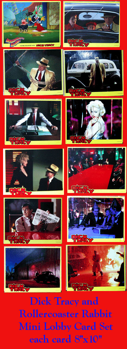 Pictured is a US mini lobby card set for the 1990 Warren Beatty film Dick Tracy starring Warren Beatty as Dick Tracy.
