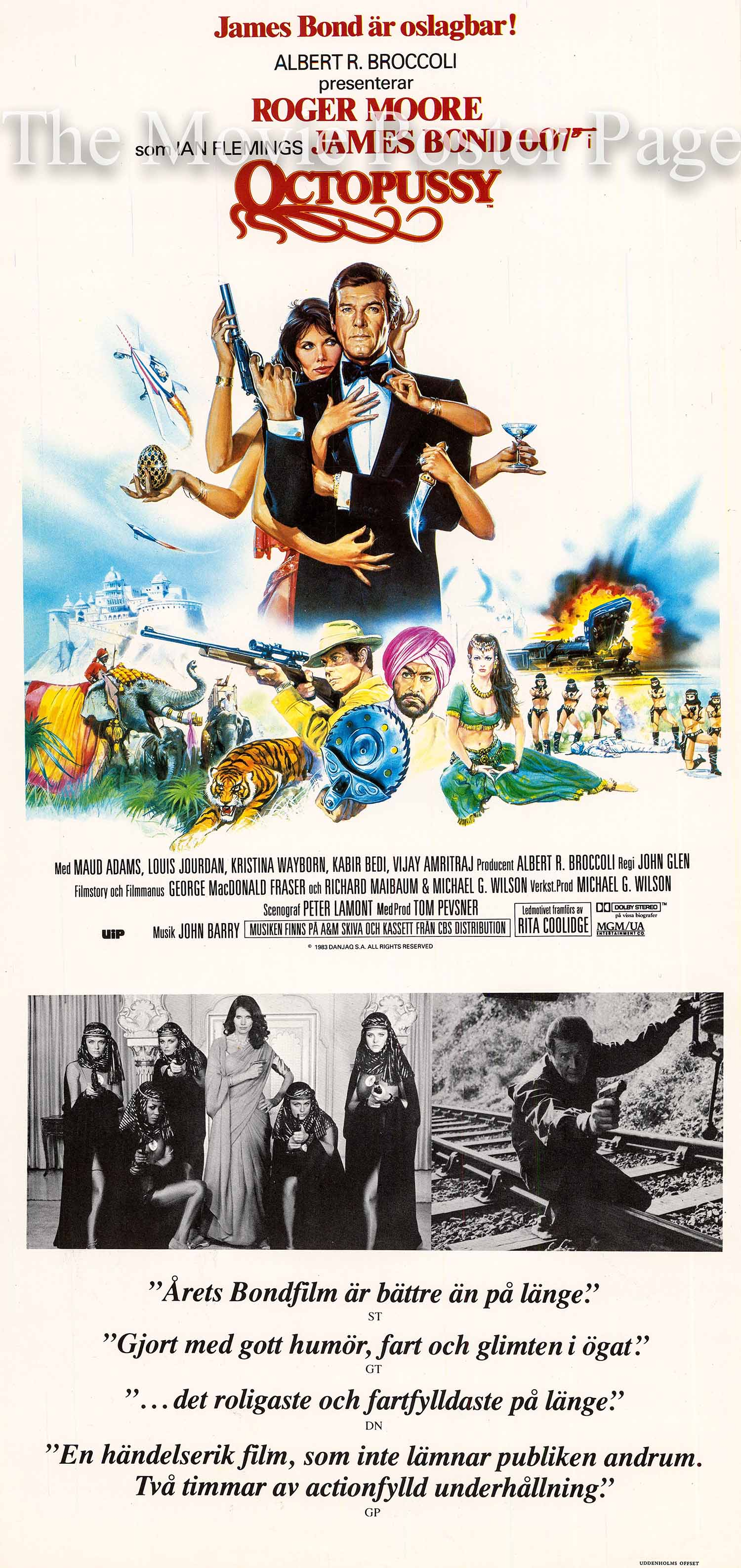 Pictured is a Swedish insert poster made to promote the 1983 John Glen film Octopussy starring Roger Moore as James Bond.