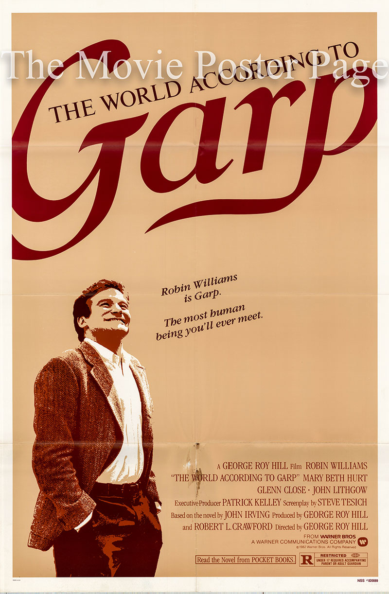 Pictured is a US one-sheet poster for the 1982 George Roy Hill film The World According to Garp starring Robin Williams as Garp.