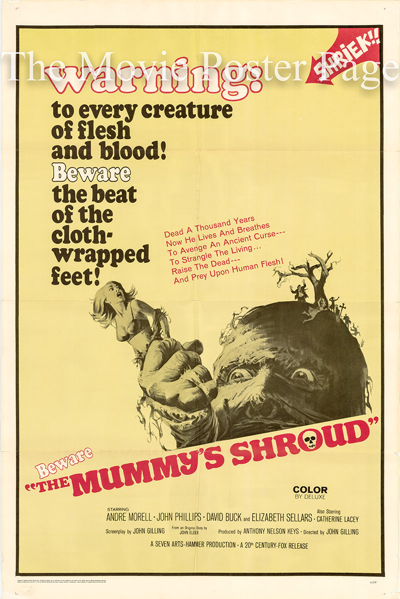 Pictured is a US one-sheet poster for the 1967 John Gilling film The Mummy's Shroud starring Andre Morell.