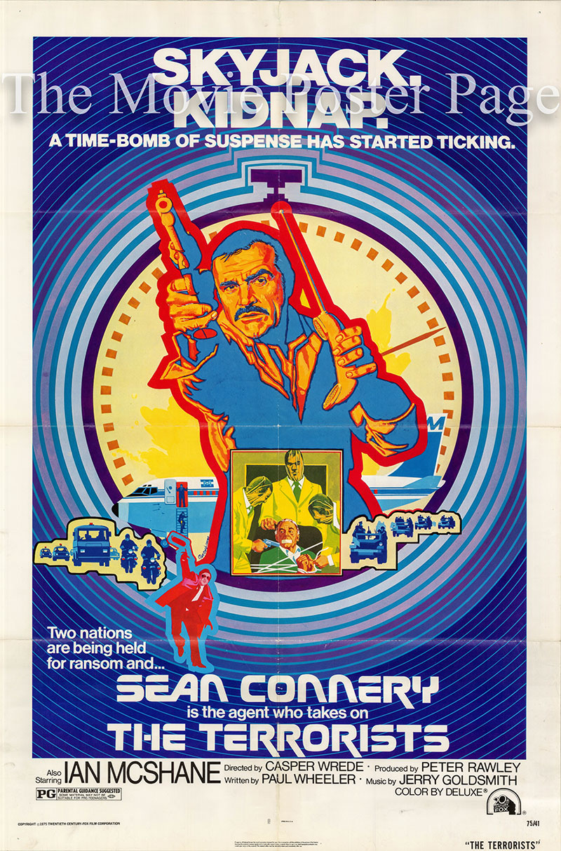 Pictured is a US one-sheet poster for the 1974 Caspar Wrede film The Terrorists starring Sean Connery as Colonel Nils Tahlvik.