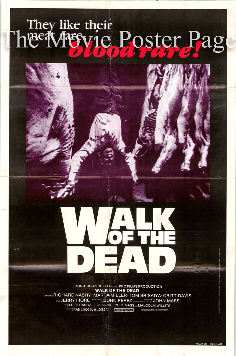 Pictured is a US one-sheet poster for the 1981 film Walk of the Dead, which is a rerelease of the 1973 Leon Klimovsky film Vengeance of the Zombies starring Paul Naschy as Krisna.