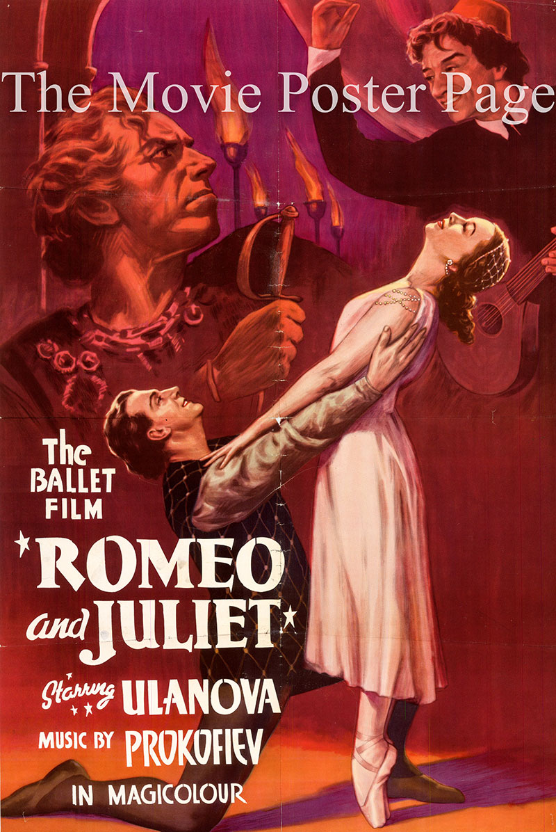 Pictured is a poster for the Lev Amshtam 1955 Soviet Export film Romeo and Juliet starring Galina Ulanova as Juliet.