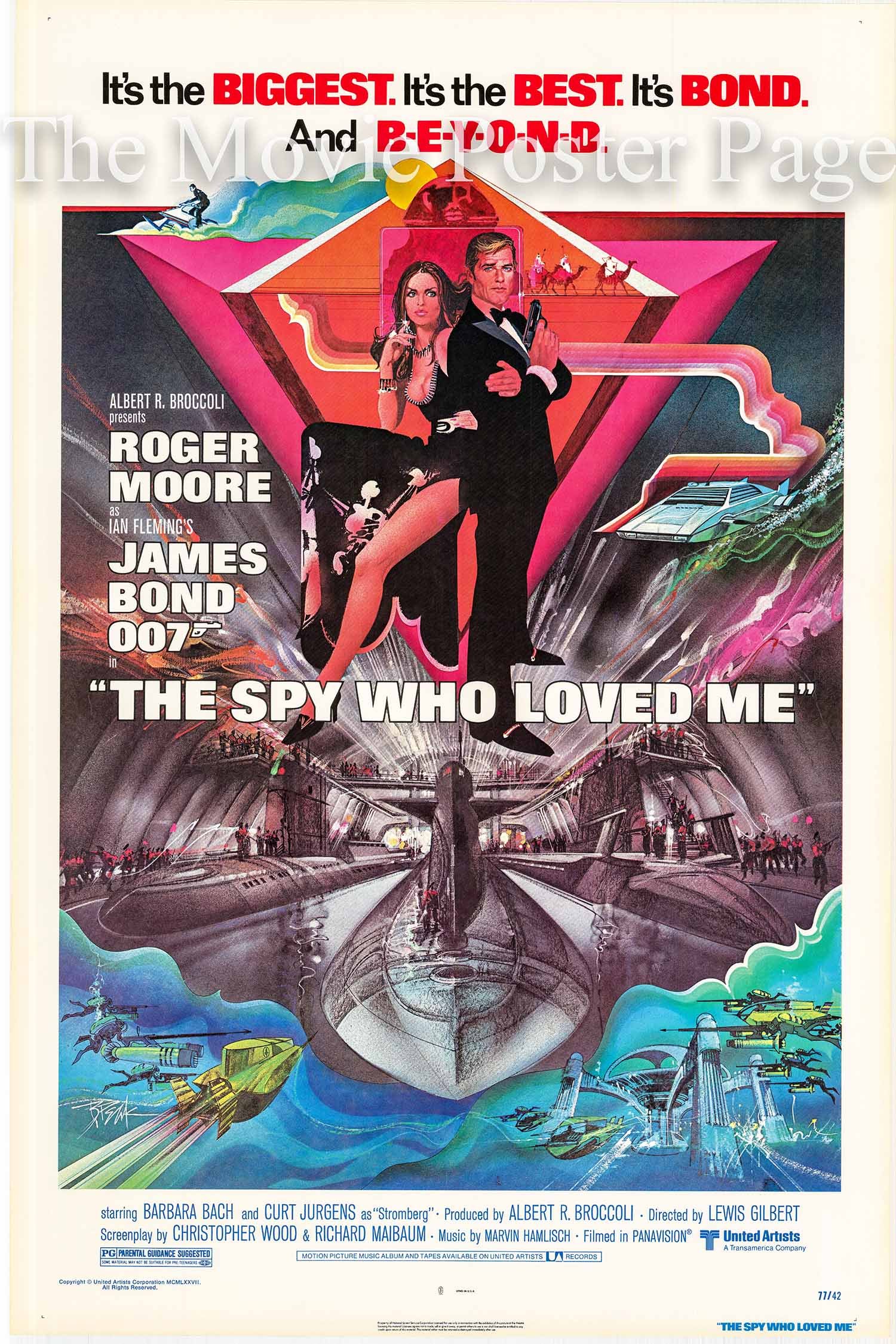 Pictured is a US one-sheet promotional poster featuring art by Bob Peak for the 1977 Lewis Gilbert film The Spy Who Loved Me starring Roger Moore as James Bond.