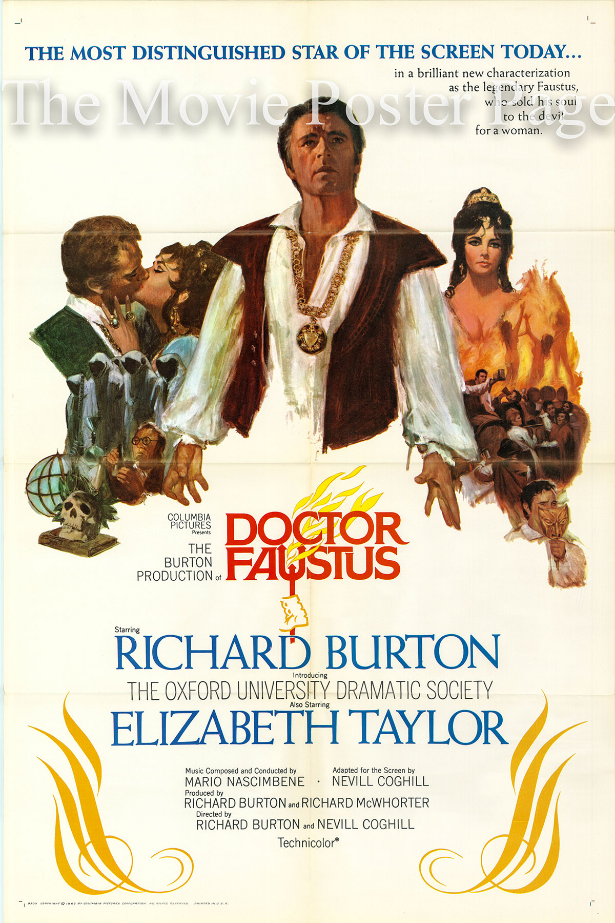 Pictured is a US promotional one-sheet poster for the 1967 Richard Burton and Nevill Coghill film Dr. Faustus starring Richard Burton as Dr. Faustus.