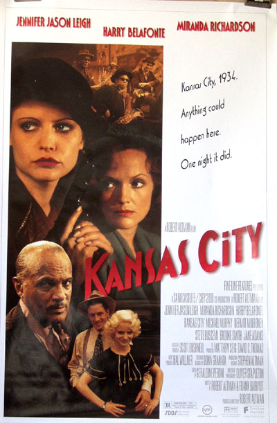 Pictured is a US promotional poster for the 1996 Robert Altman film Kansas City starring Jennifer Jason Leigh.