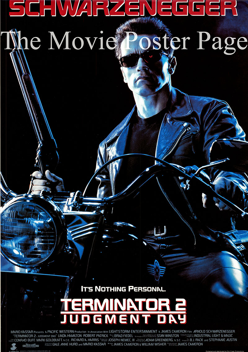 Pictured is a US promotional poster for the 1991 James Cameron film Terminator 2 starring Arnold Schwarzenegger.