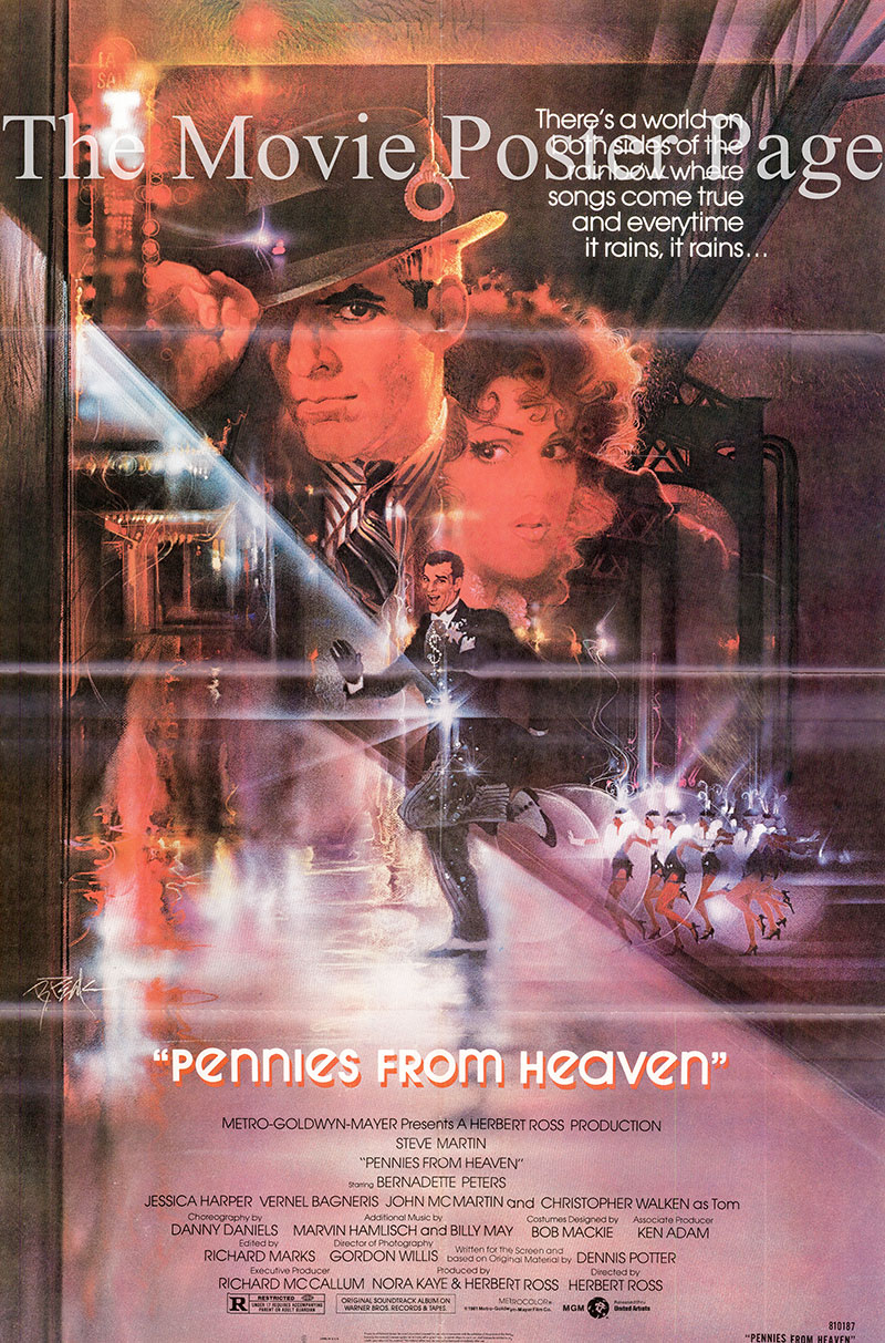 Pictured is a US one-sheet poster for the 1981 Herbert Ross film Pennies from Heaven starring Steve Martin as Arthur.