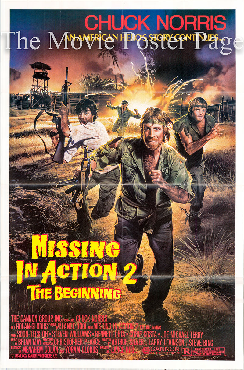 Pictured is a US one-sheet poster for the 1985 Lance Hool film Missing in Action 2: The Beginning starring Chuck Norris as Colonel James Braddock.