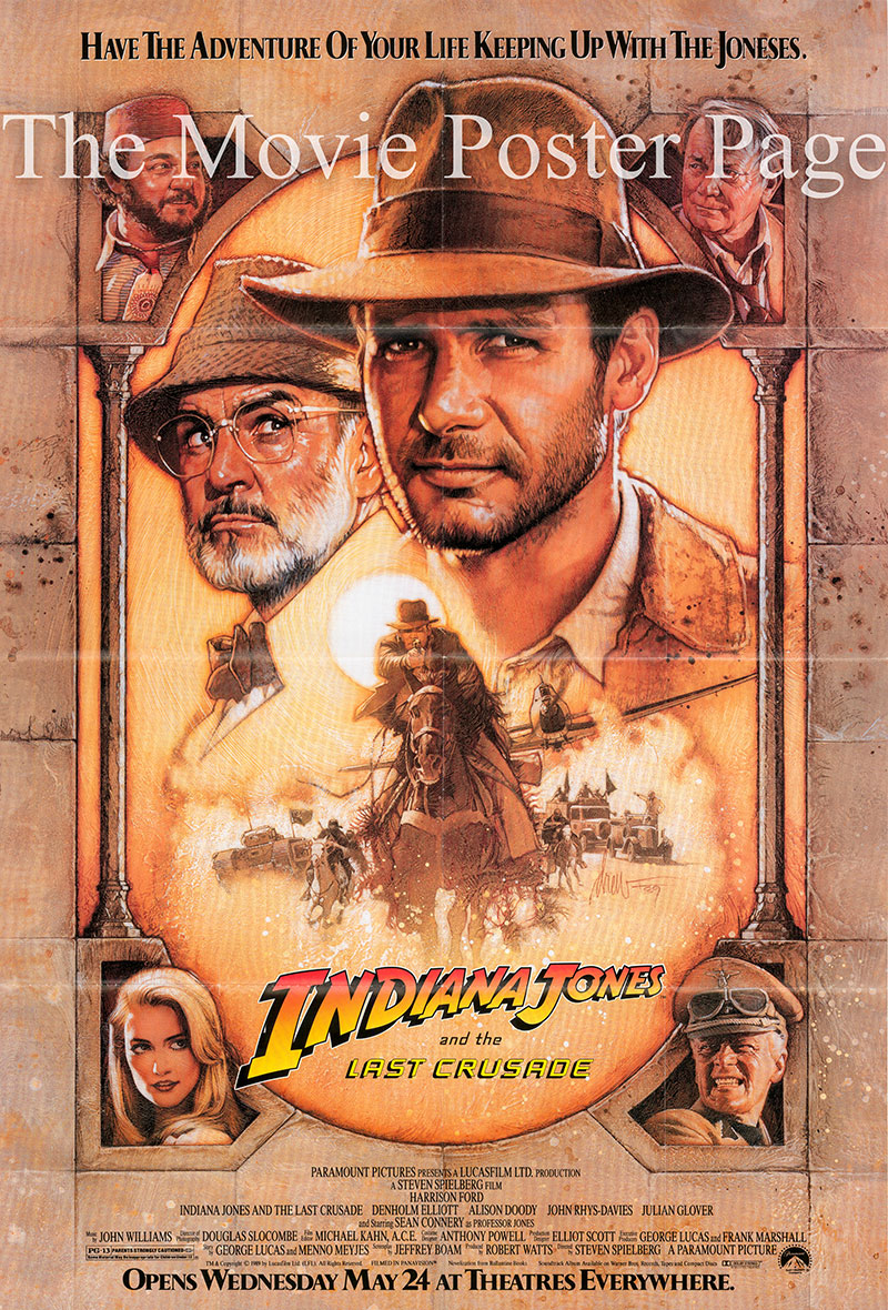 Pictured is a US one-sheet poster for the 1989 Steven Spielberg film Indiana Jones and the Last Crusade starring Harrison Ford as Indiana Jones.
