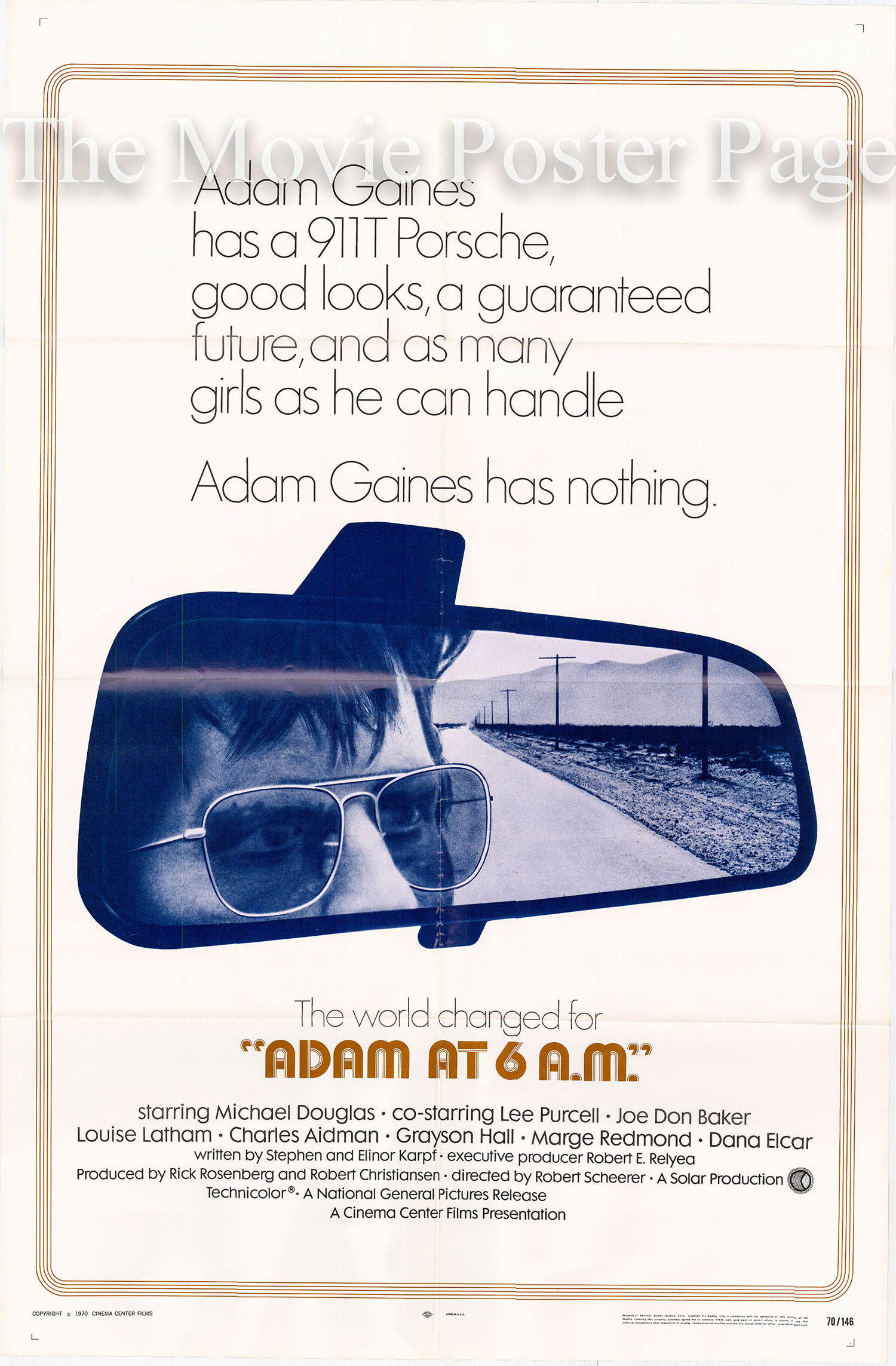 Pictured is as US promotional poster for the 1970 Robert Scheerer film Adam at 6 a.m. starring Michael Douglas.