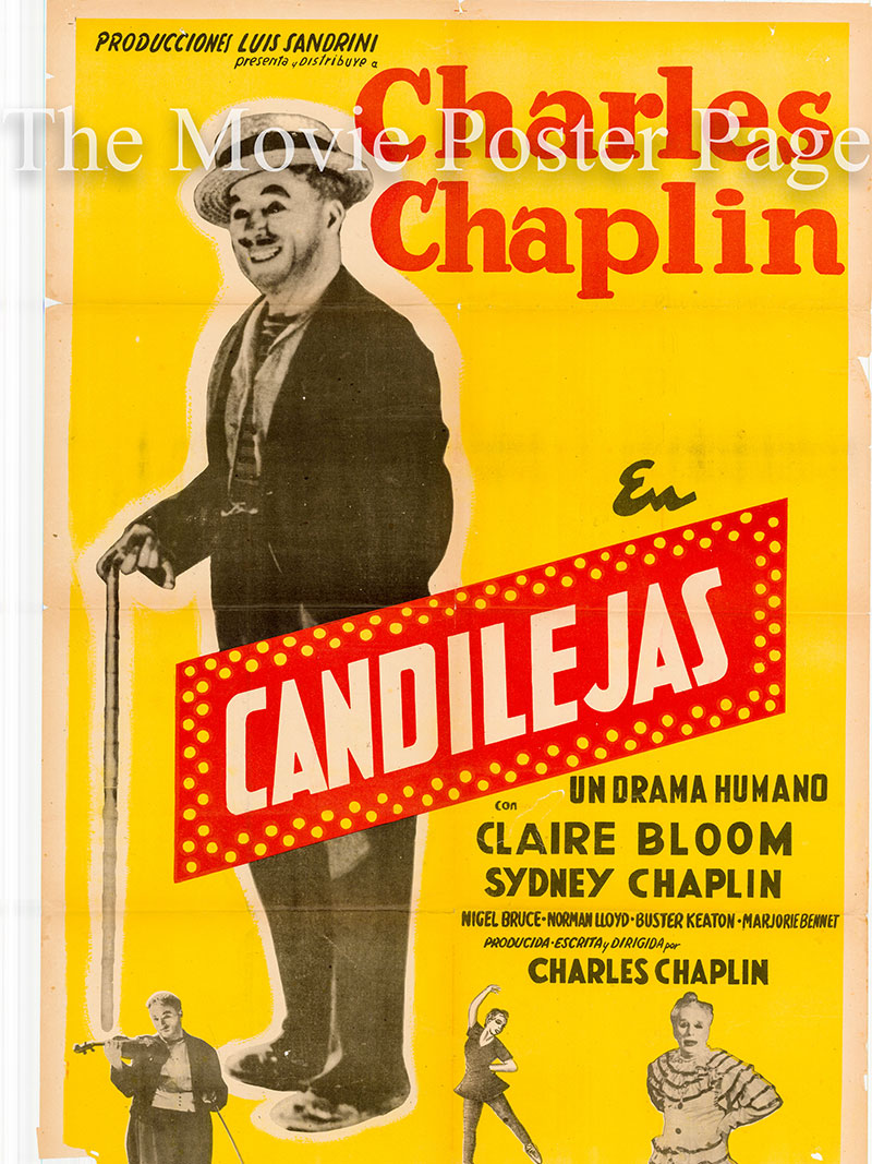 Pictured is an Argentine one-sheet poster for the 1952 Charles Chaplin film Limelight starring Charles Chaplin as Calvero.