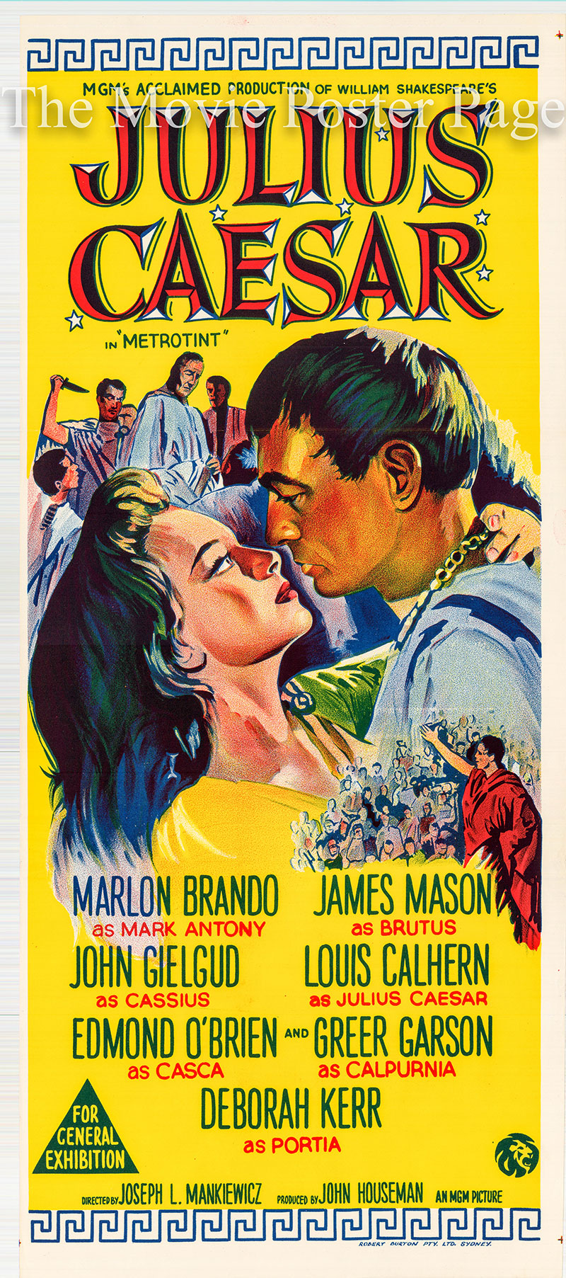 Pictured is an Australian day bill promotional poster for a 1968 rerelease of the 1953 Joseph L. Mankiewicz film Julius Caesar starring Marlon Brando.