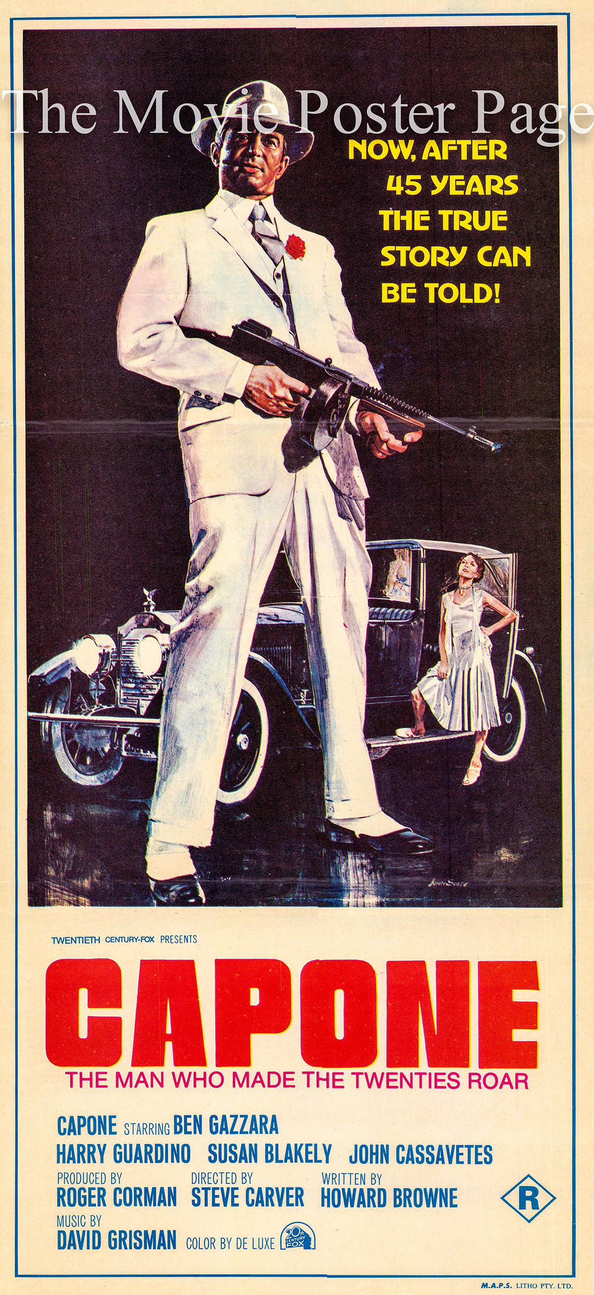 Pictured is an Australian daybill promotional poster for the 1975 Steve Carver film Capone starring Ben Gazzara.