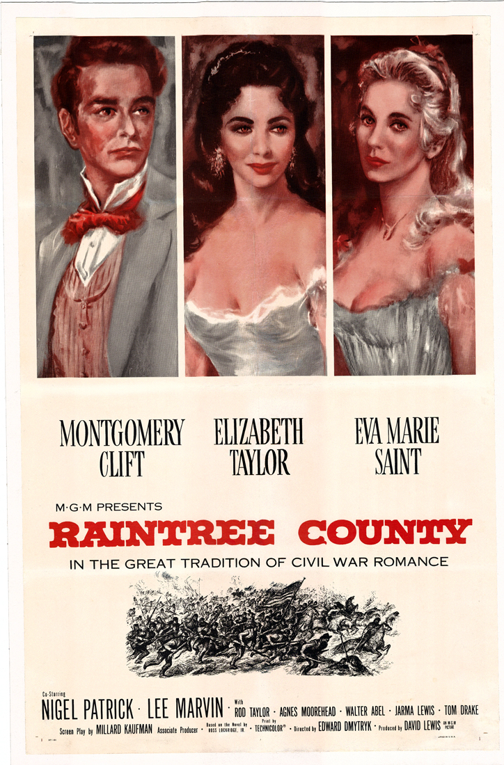 Pictured is a US one-sheet promotional poster for the 1957 Edward Dmytryck film Raintree County starring Elizabeth Taylor and Montgomery Clift.