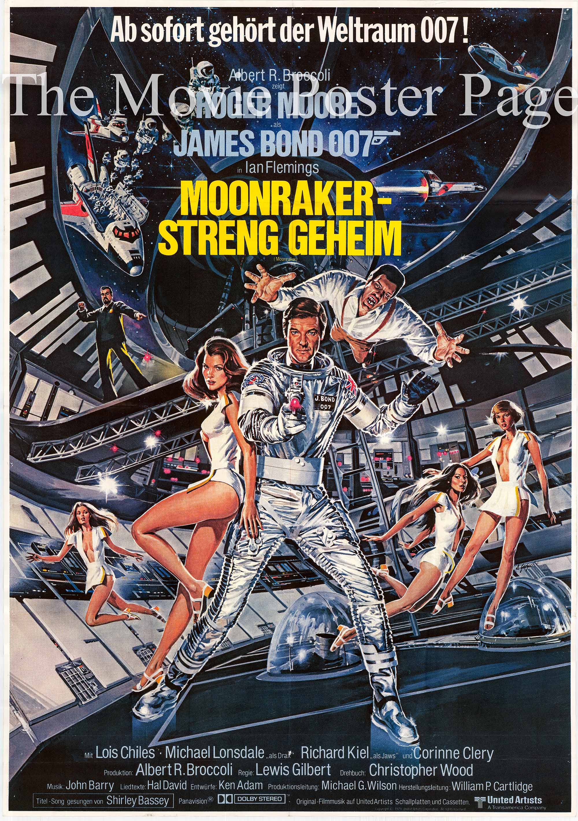 Pictured is a German two-sheet promotional poster for the 1979 Lewis Gilbert film Moonraker starring Roger Moore.