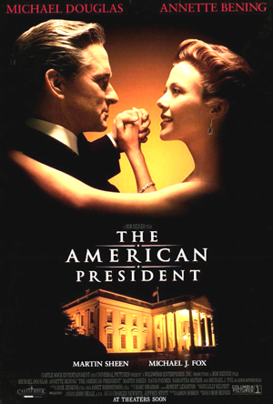 Pictured is a US promotional poster for the 1995 Rob Reiner film The American President starring Michael Douglas and Annette Bening.