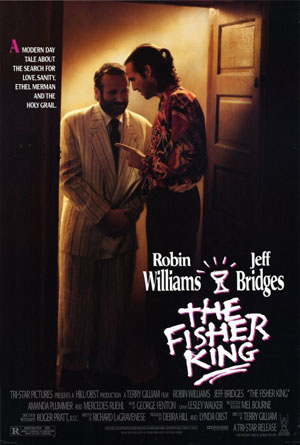 Pictured is a US promotional poster for the 1991 Terry Gilliam film The Fisher King starring Robin Williams.