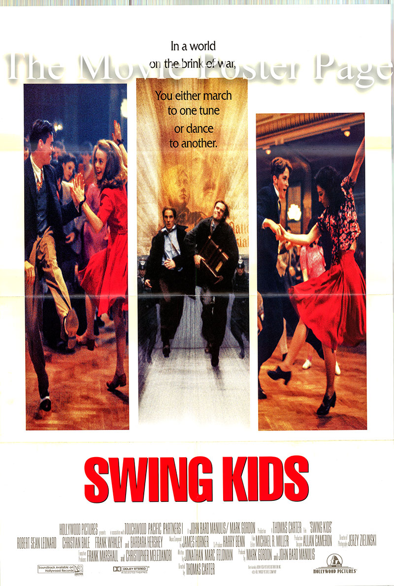 Pictured is a US one-sheet poster for the 1993 Thomas Carter film Swing Kids starring Robert Sean Leonard as Peter Muller.