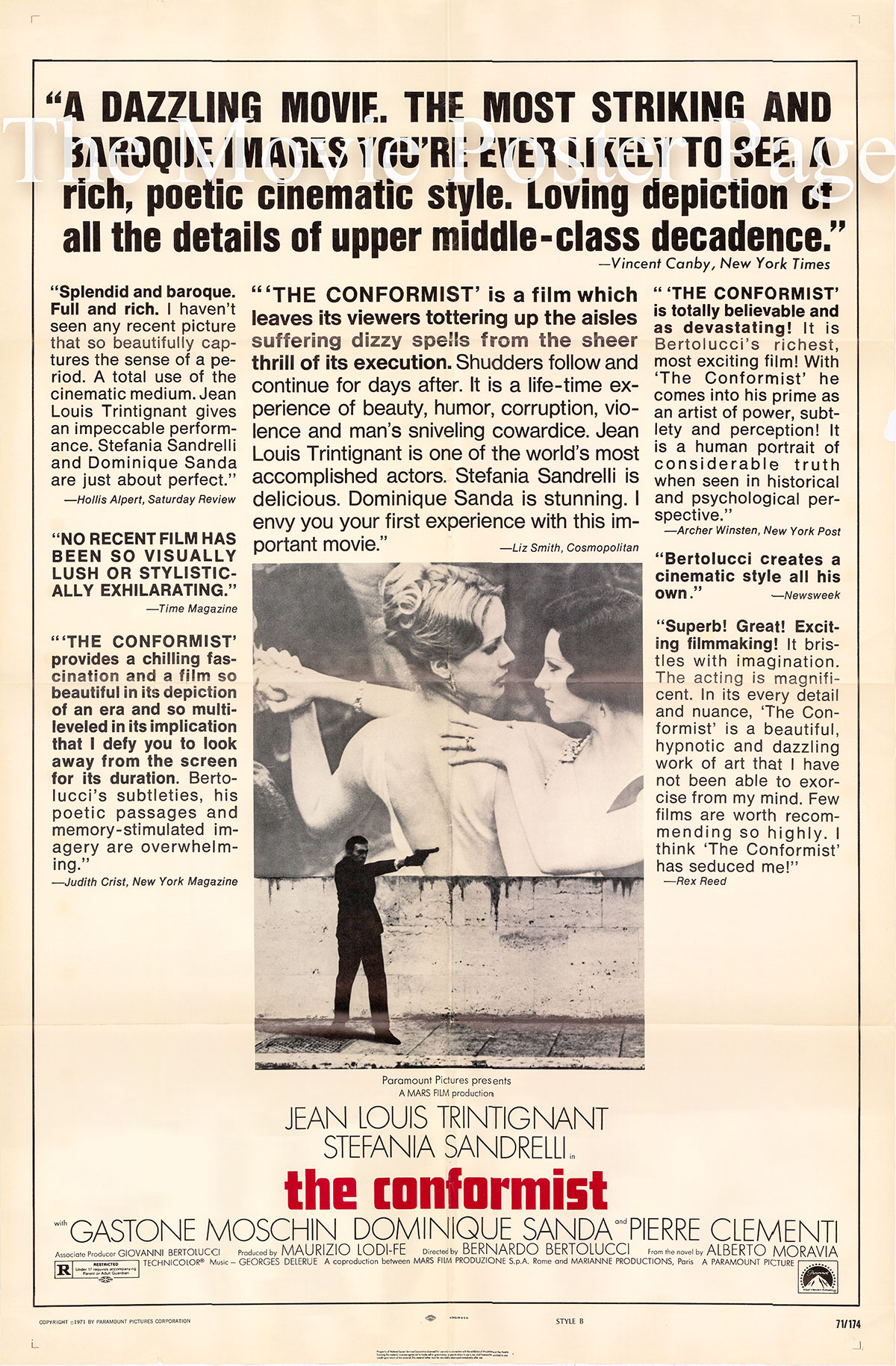 Pictured is a US promotional one-sheet poster for the 1971 Bernardo Bertolucci film The Conformist starring Jean-Luis Trintignant as Marcello Clerici.