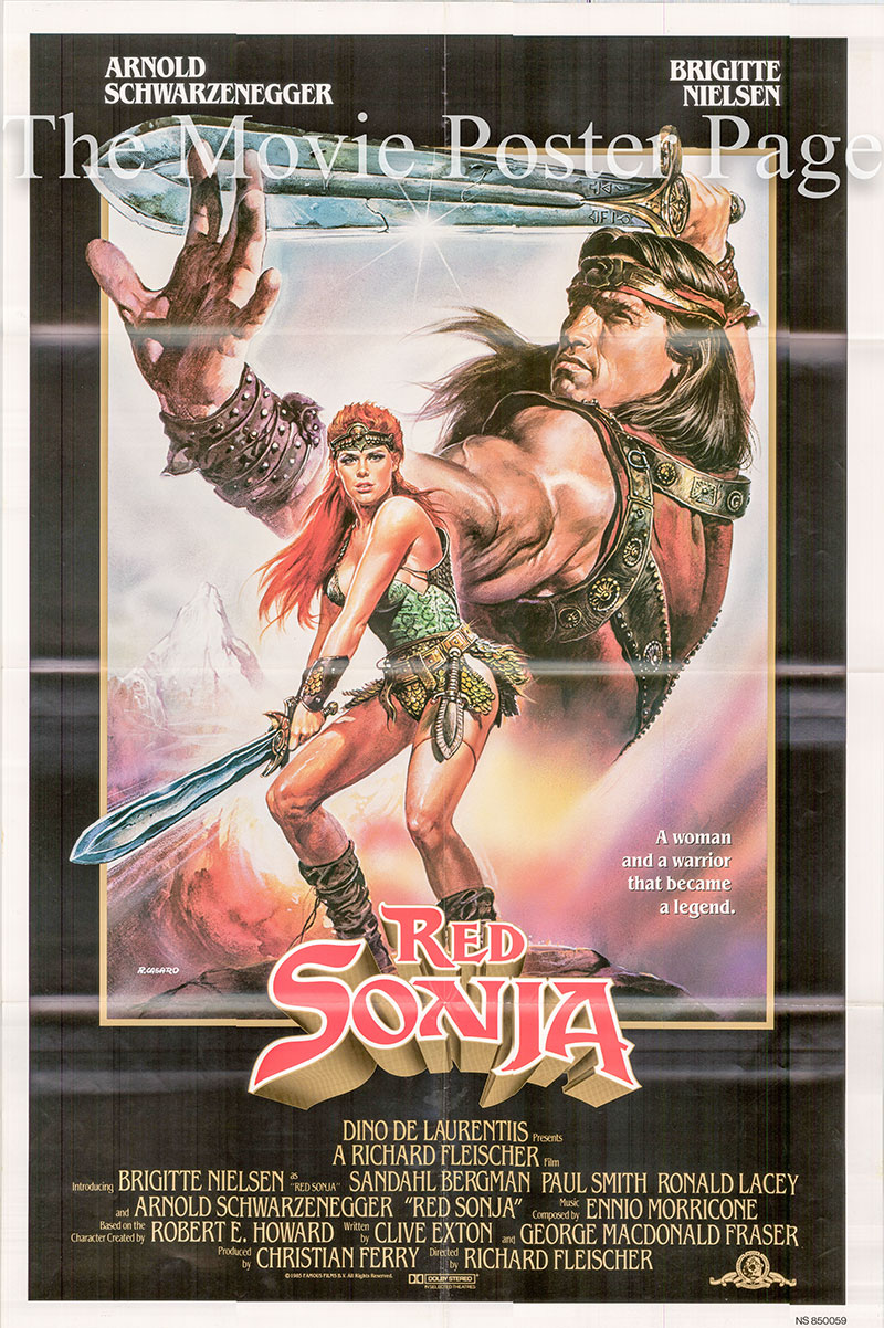 Pictured is a US one-sheet poster for the 1985 Richard Fleischer film Red Sonja starring Arnold Schwarzenegger as Kalidor.