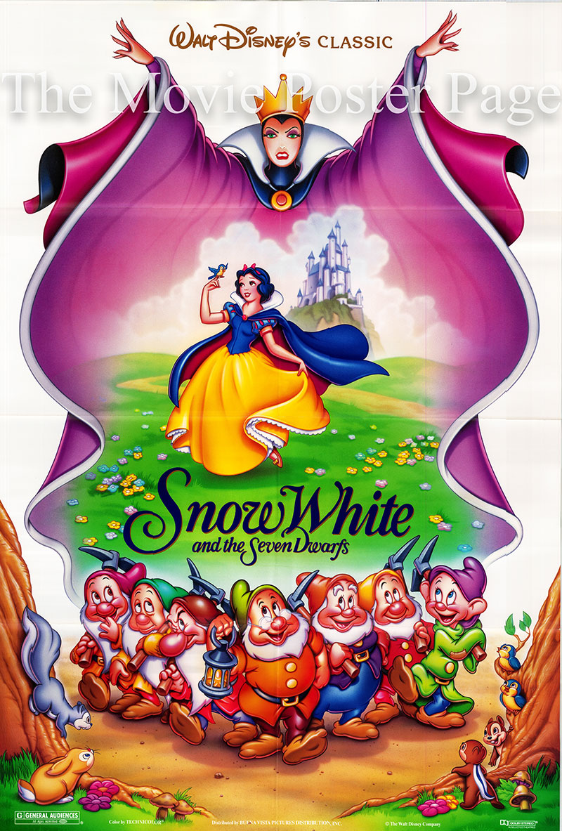 Pictured is a US one-sheet poster for a 1993 rerelease of the 1937 William Cottrell Disney animation film Snow White and the Seven Dwarfs starring Adriana Caselotti as the voice of Snow White.
