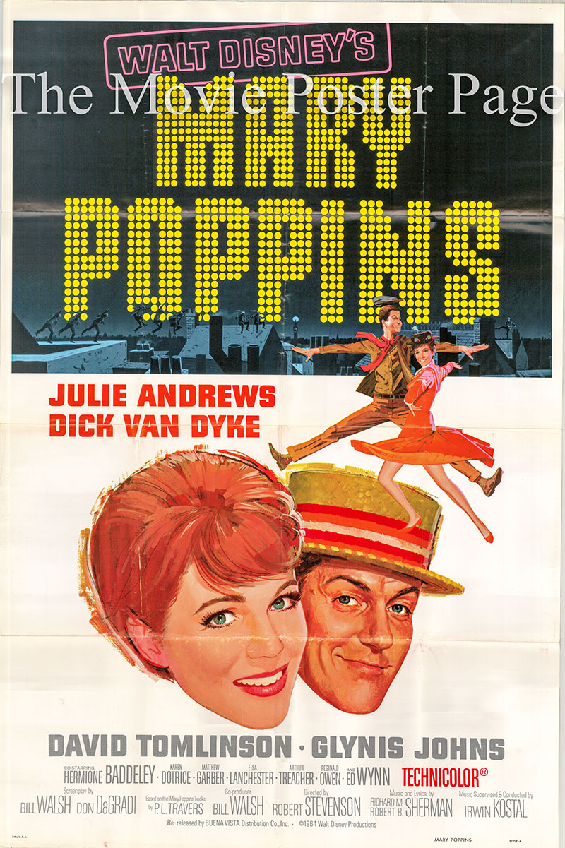 Pictured is a US promotional one-sheet poster for a 1973 rerelease of the 1974 Robert Stevenson film Mary Poppins starring Julie Andrews as Mary Poppins.