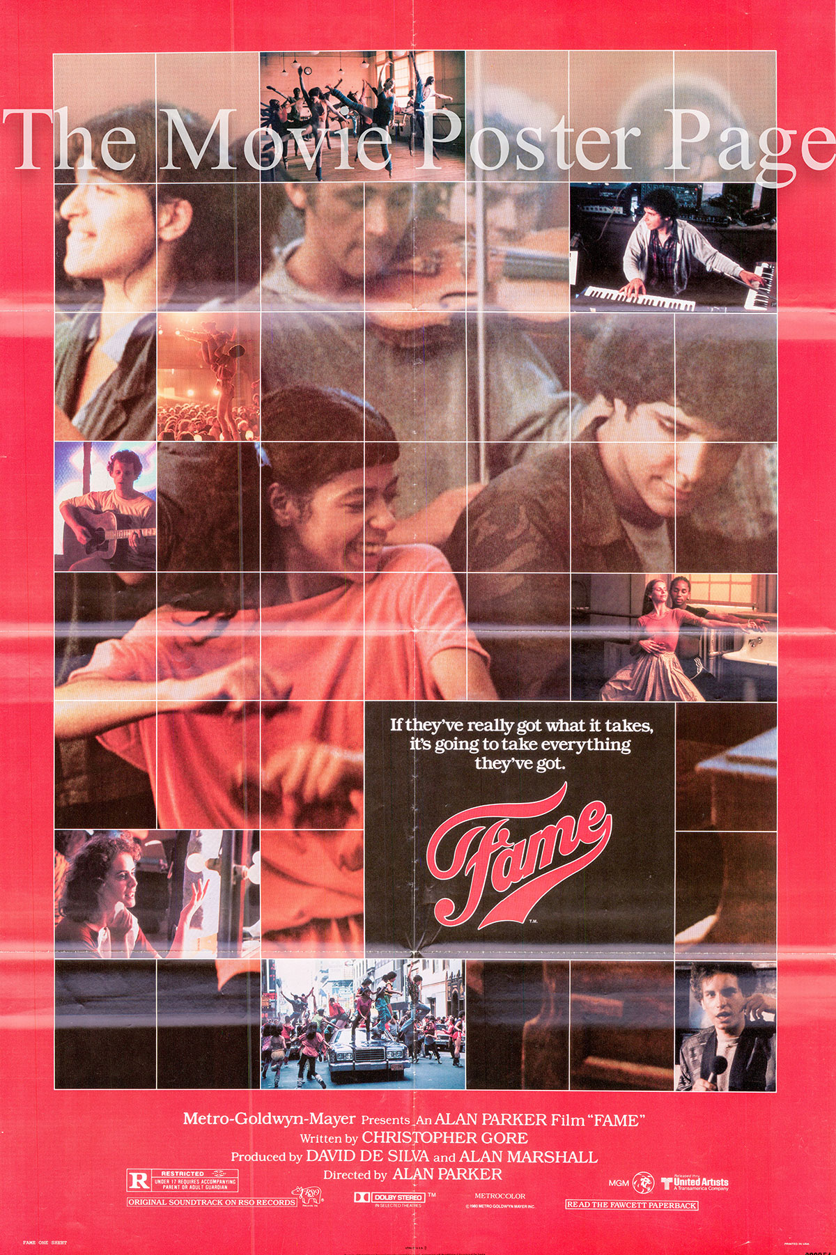 Pictured is a US one-sheet promotional poster for the 1980 Alan Parker film Fame starring Irene Cara as Coco Hernandez.