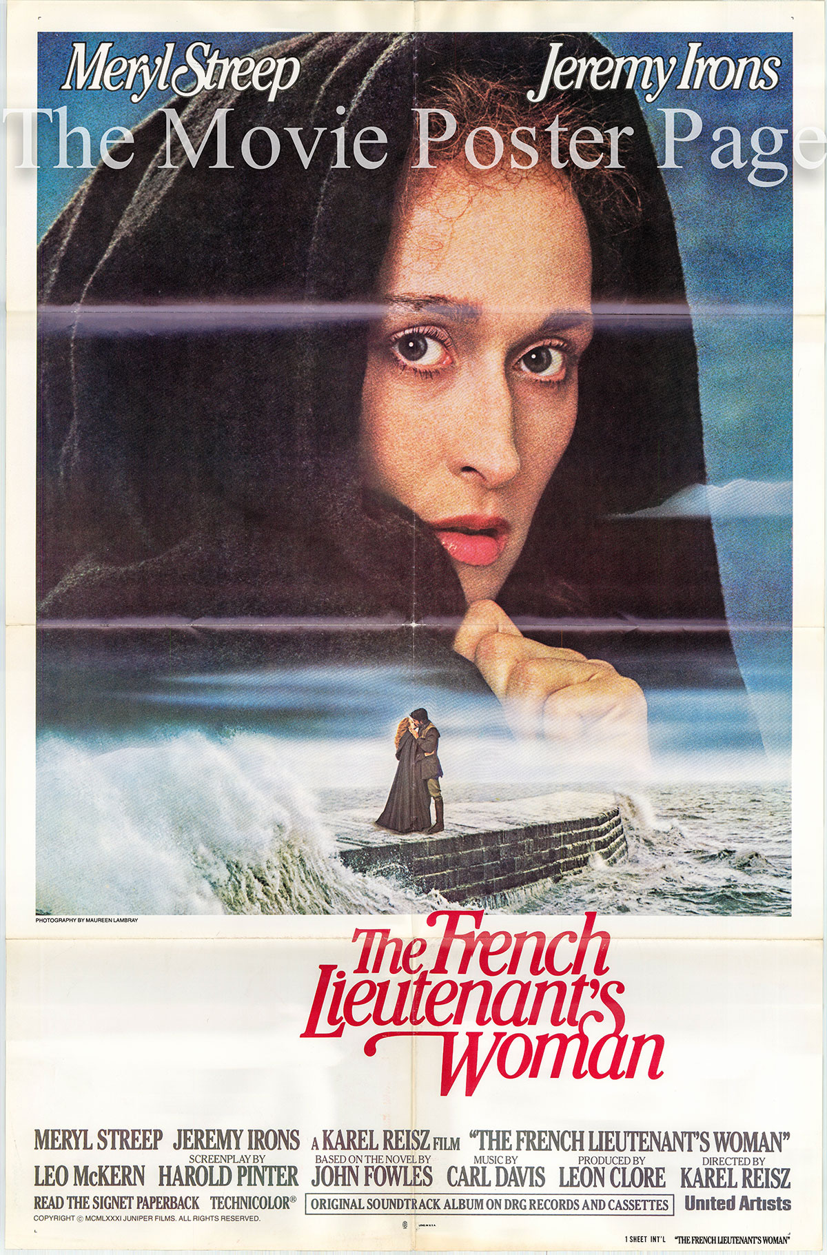 Pictured is a US one-sheet poster for the 1981 Karel Reiscz film The French Lieutenant's Woman starring Meryl Streep as Sarah and Anna.