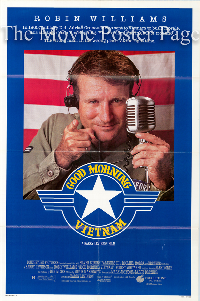 Pictured is a US one-sheet poster for the 1987 Barry Levinson film Good Morning Vietnam starring Robin Williams.
