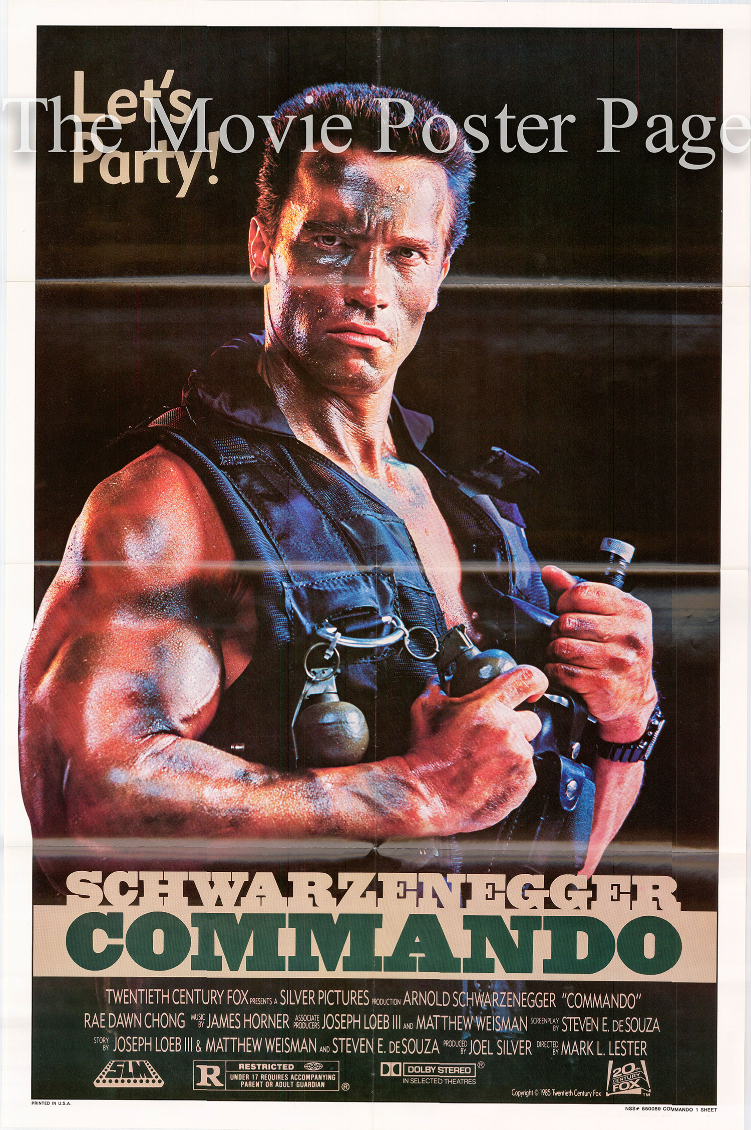 Pictured is a US one-sheet poster fo the 1985 film Commando starring Arnold Schwarzenegger.