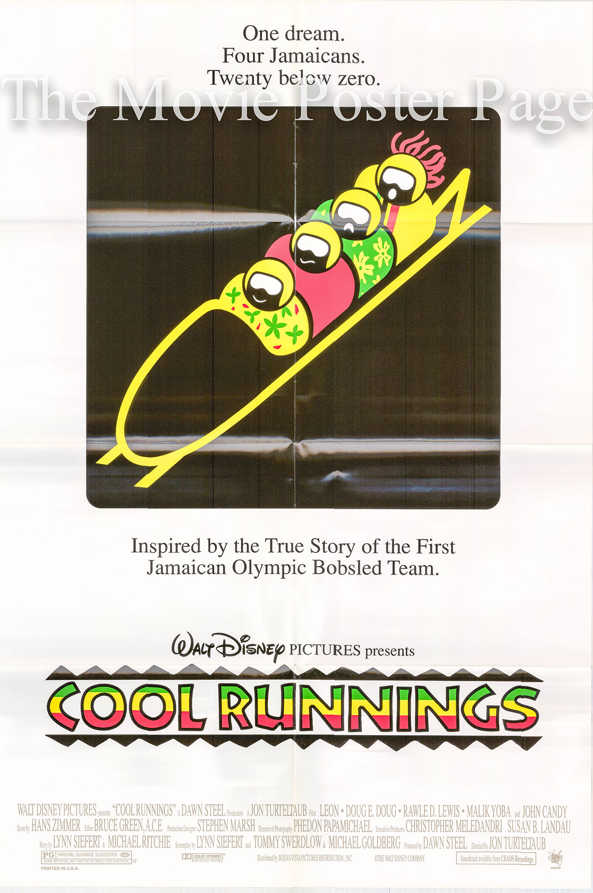 Pictured is a US one-sheet poster for the 1993 John Turteltaub film Cool Runnings starring John Candy as Derice Bannock.