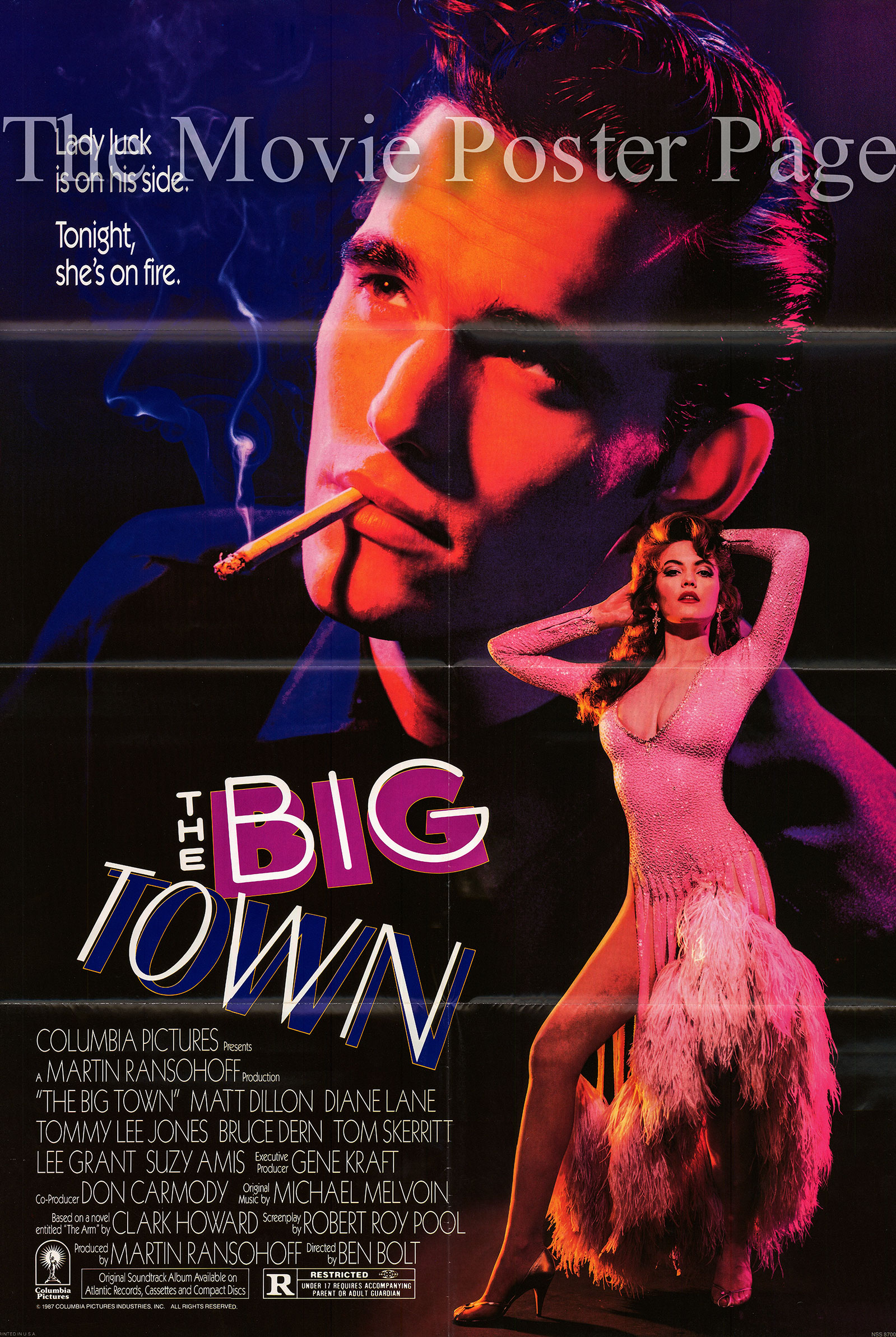 Pictured is a US one-sheet poster for the 1987 Ben Bold film The Big Town starring Matt Dillon.