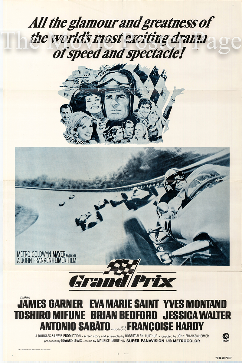 Pictured is a US one-sheet poster for a 1979 rerelease of the 1967 John Frankenheimer film Grand Prix starring James Garner.