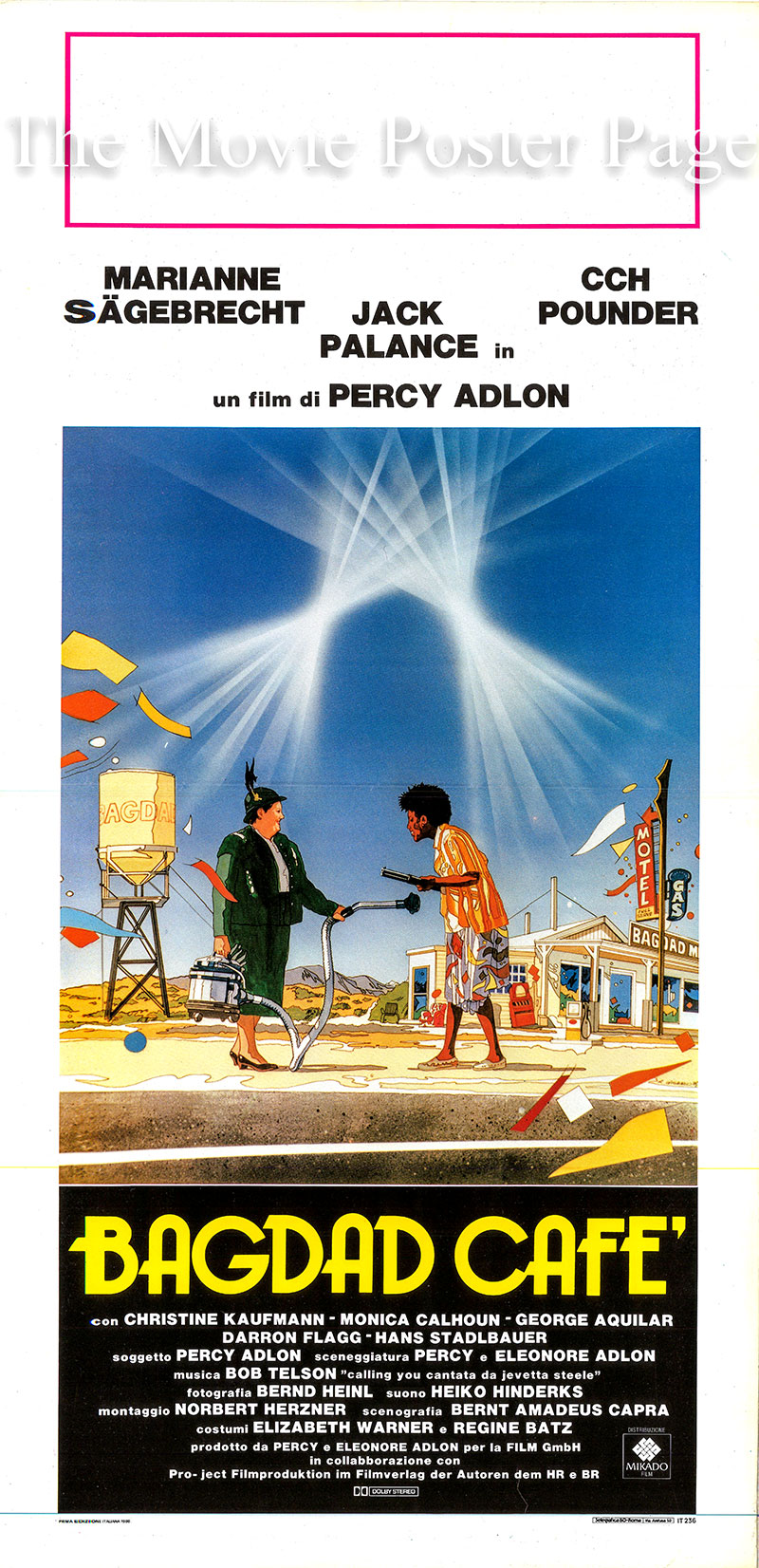 Pictured is an Italian locandina poster for the 1987 Percy Adlon film <i>Bagdad Cafe</i> starring Jack Palance as Rudi Cox.