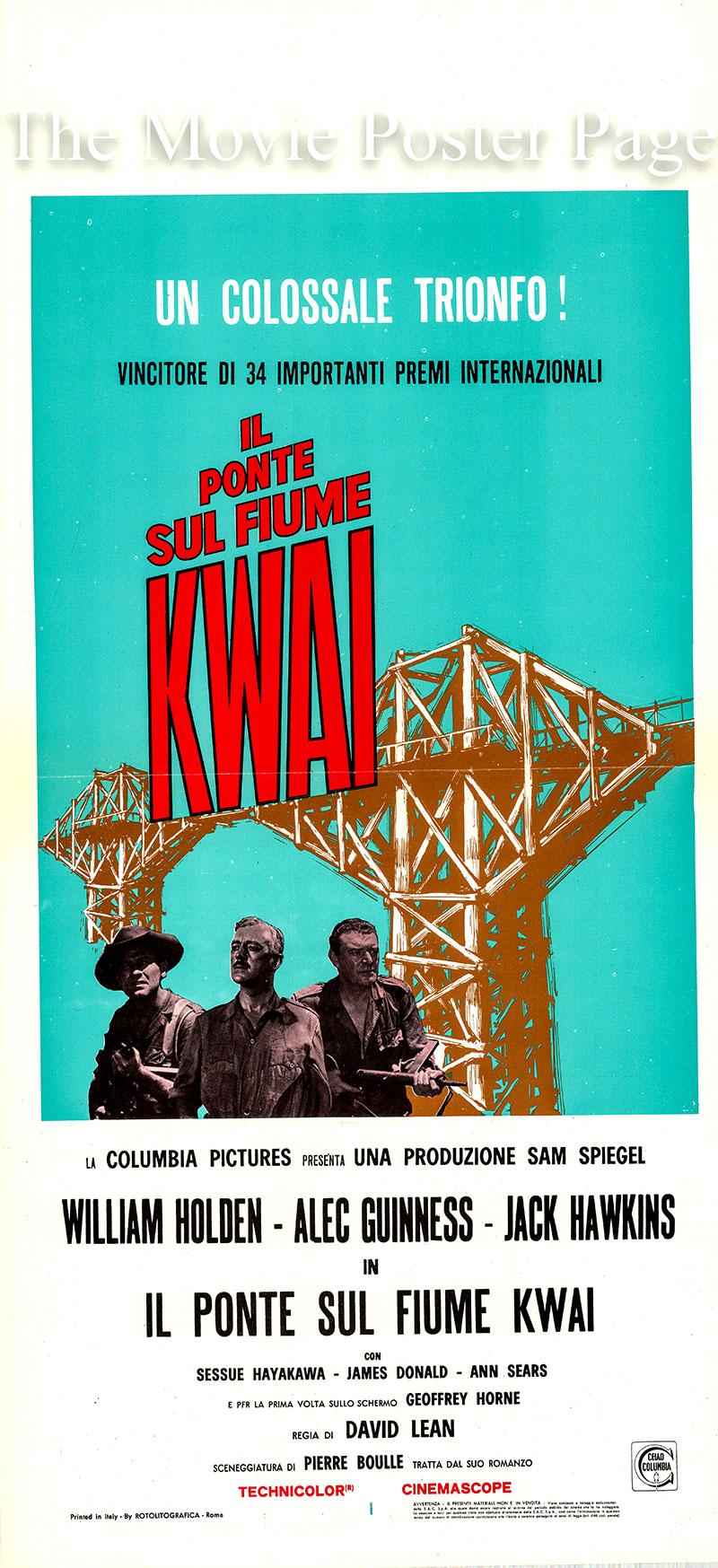 Pictured is an Italian locandina promotional poster for a 1960s rerelease of the 1957 David Lean film The Bridge on the River Kwai starring William Holden.