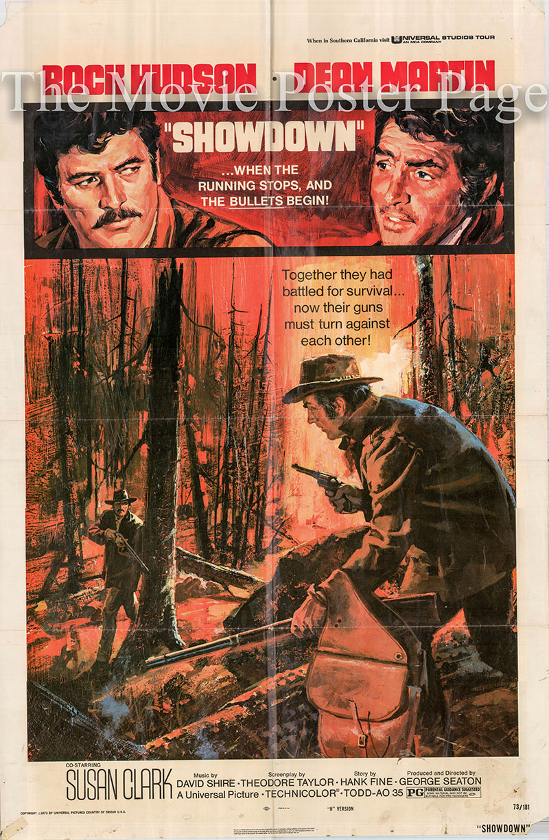 Pictured is a US one-sheet poster for the 1973 George Seaton film Showdown starring Rock Hudson as Chuck Jarvis.