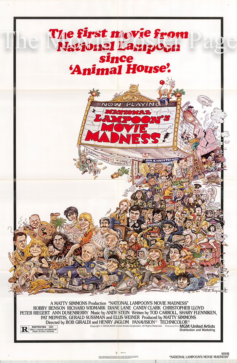 Pictured is a US one-sheet poster for the 1982 Bobgiraldi film National Lampoon's Movie Madness starring Robby Benson.