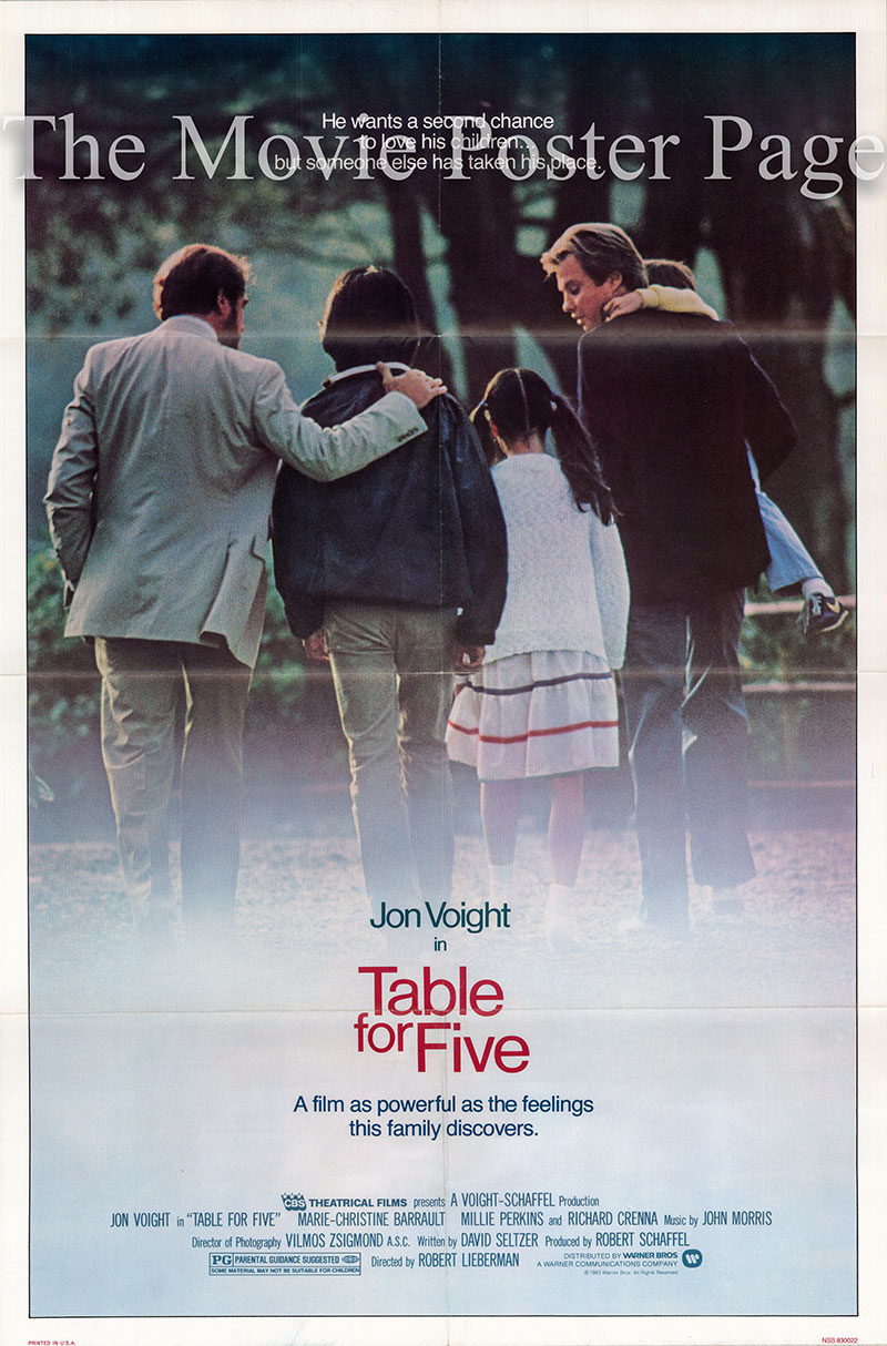 Pictured is a US one-sheet poster for the 1983 Robert Lieberman film Table for Five starring John Voight as J.P. Tannen.