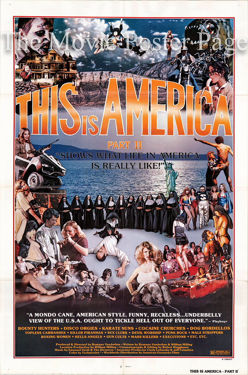 Pictured is a US one-sheet poster for the 1977 Romano Vanderbes film this is America Part 2 starring Jello Biafra as himself.