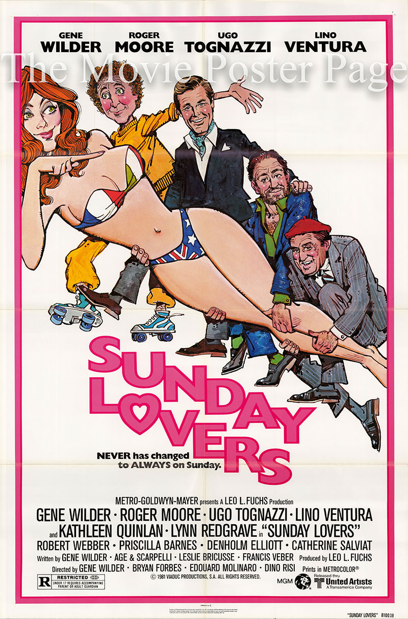 pictured is a US one-sheet poster for the 1980 Gene Wilder film  Sunday Lovers starring Roger Moore as Harry Lindon.