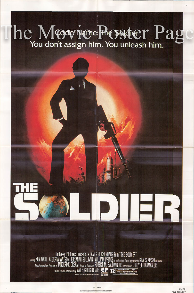 Pictured is a US one-sheet poster for the 1982 James Glickenhaus film The Soldier Starring Ken Wahl.