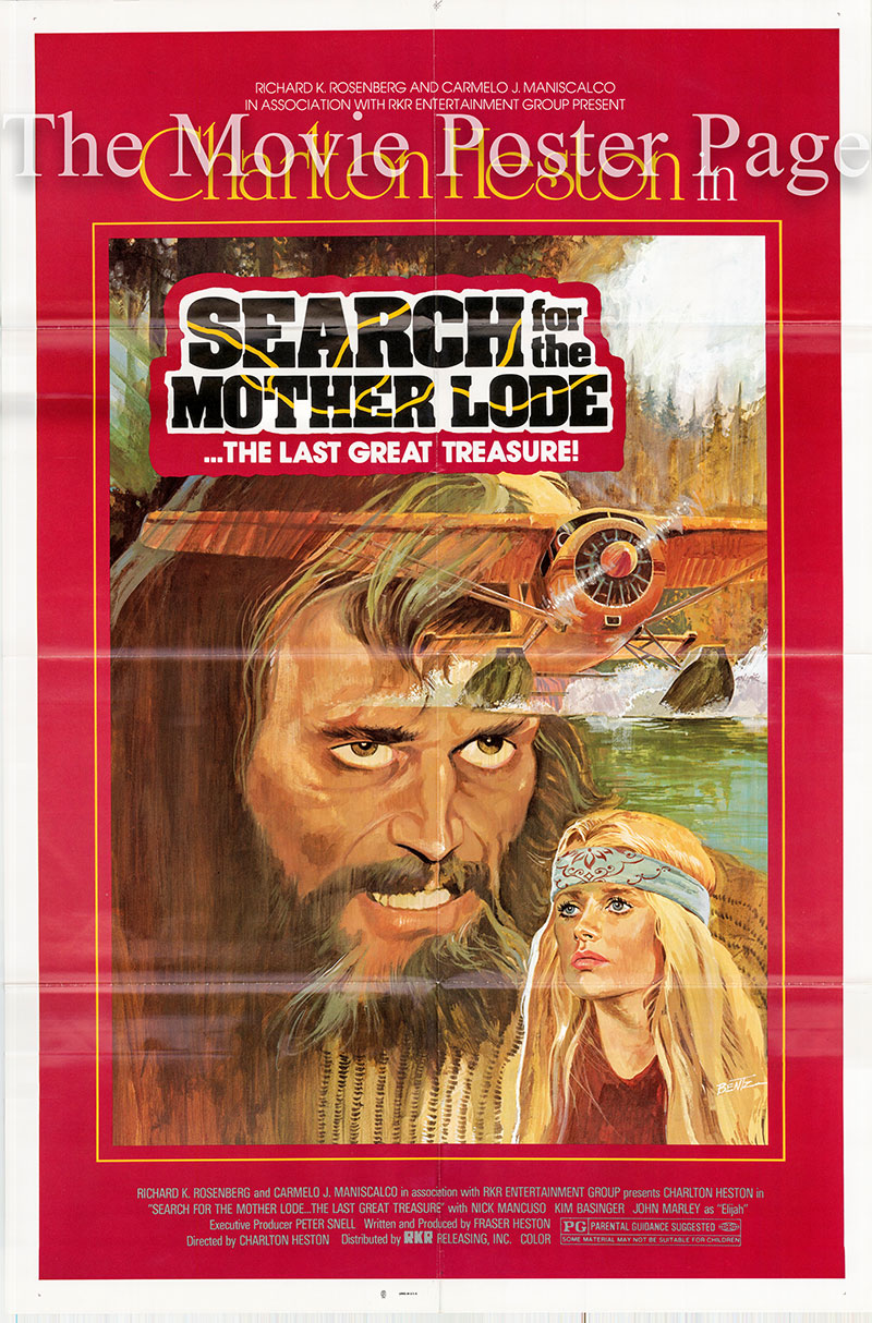 Pictured is A US one-sheet poster for the 1982 Charleton Heston and Fraser Clarke Heston film Mother Lode starring Charlton Heston as Silas McGee.