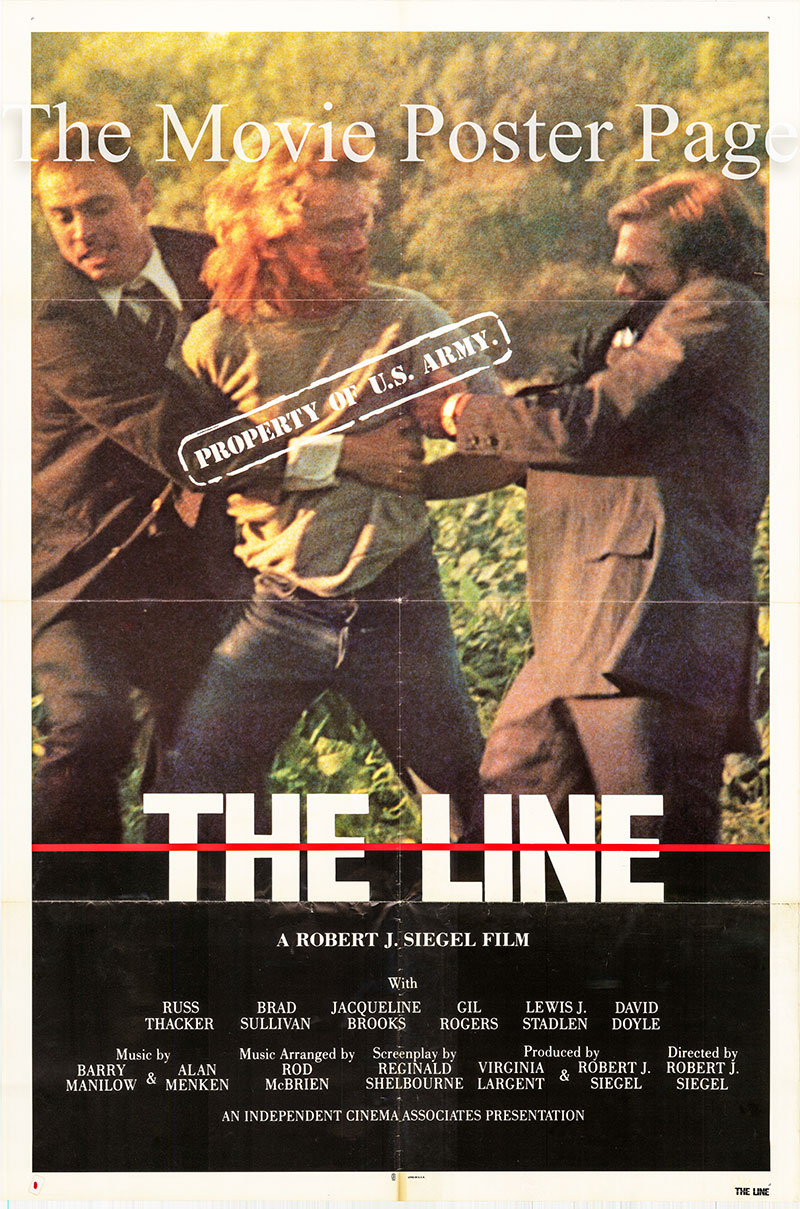 Pictured is a US one-sheet poster for the 1980 Robert J. Siegel film The Line starrong Russ Thacker; the film is a rerelease of the 1972 film Parades.