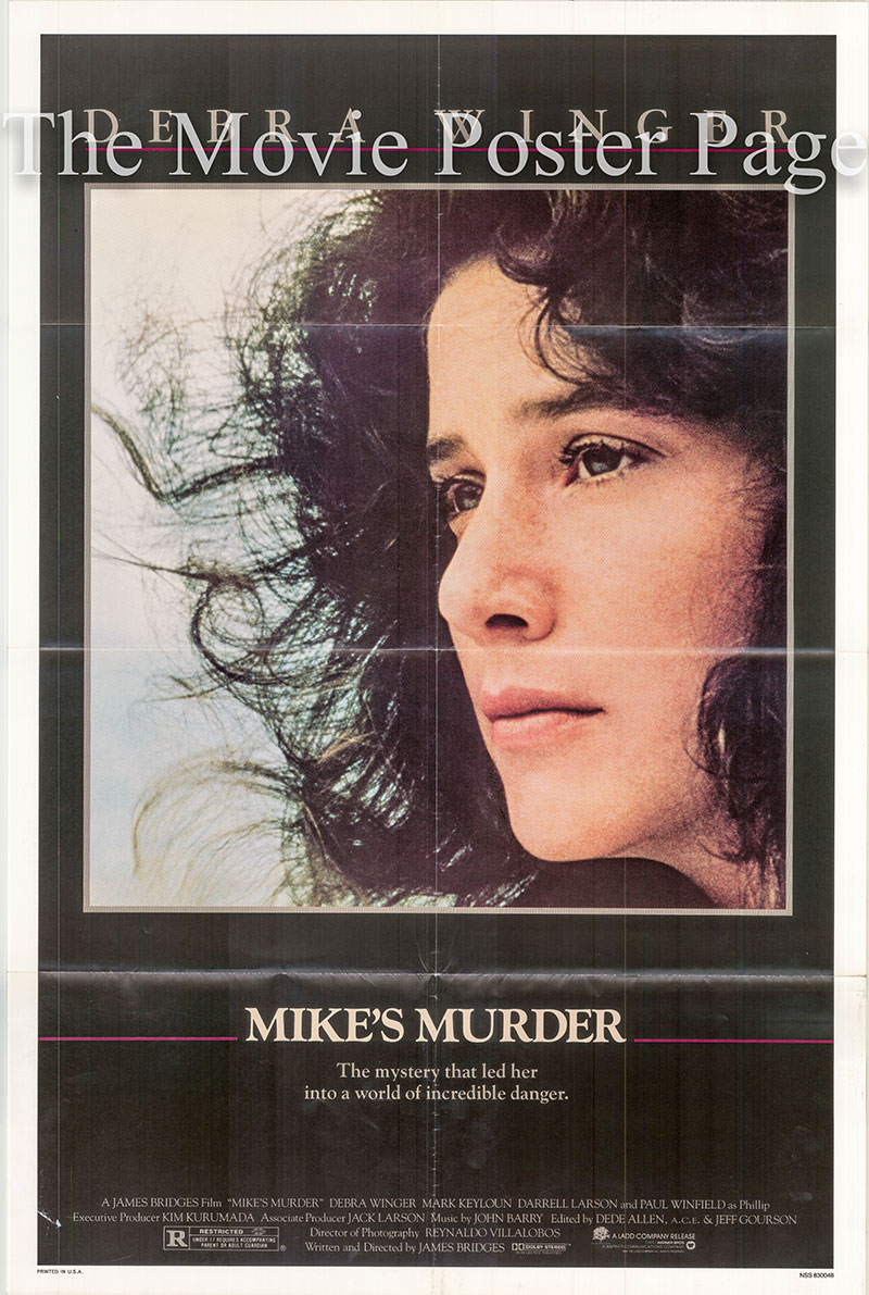 Pictured is a US one-sheet poster for the 1983 James Bridges film Mike's Murder starring Debra Winger.