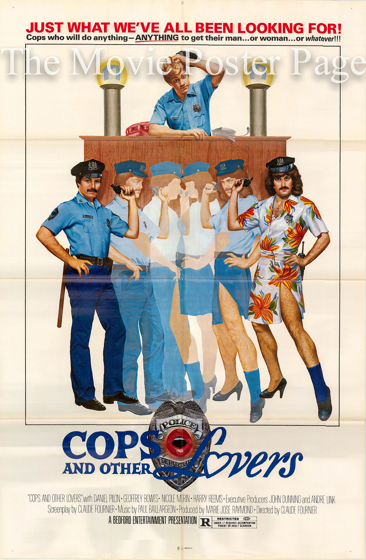 Pictured is a US promotional one-sheet poster for the 1980 Claude Fournier film Cops and Other Lovers starring Harry Reems.