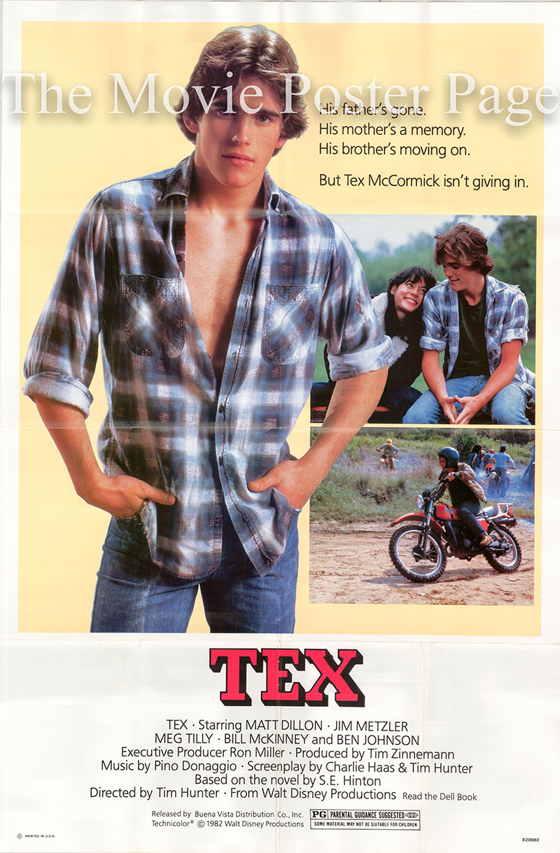 Pictured is a US promotional poster for the 1982 Tim Hunter film Tex starring Matt Dillon.