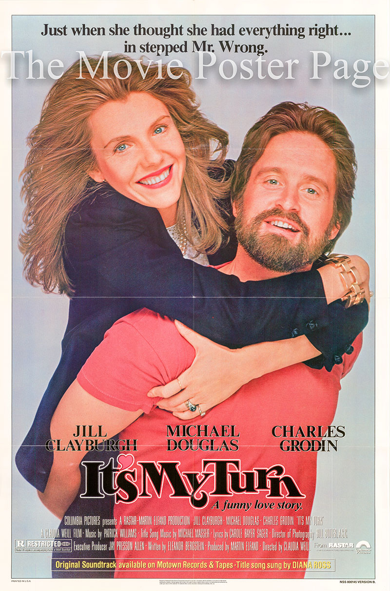 Pictured is a US promotional poster for the 1980 Claudia  Weill film It's My Turn starring Michael Douglas.