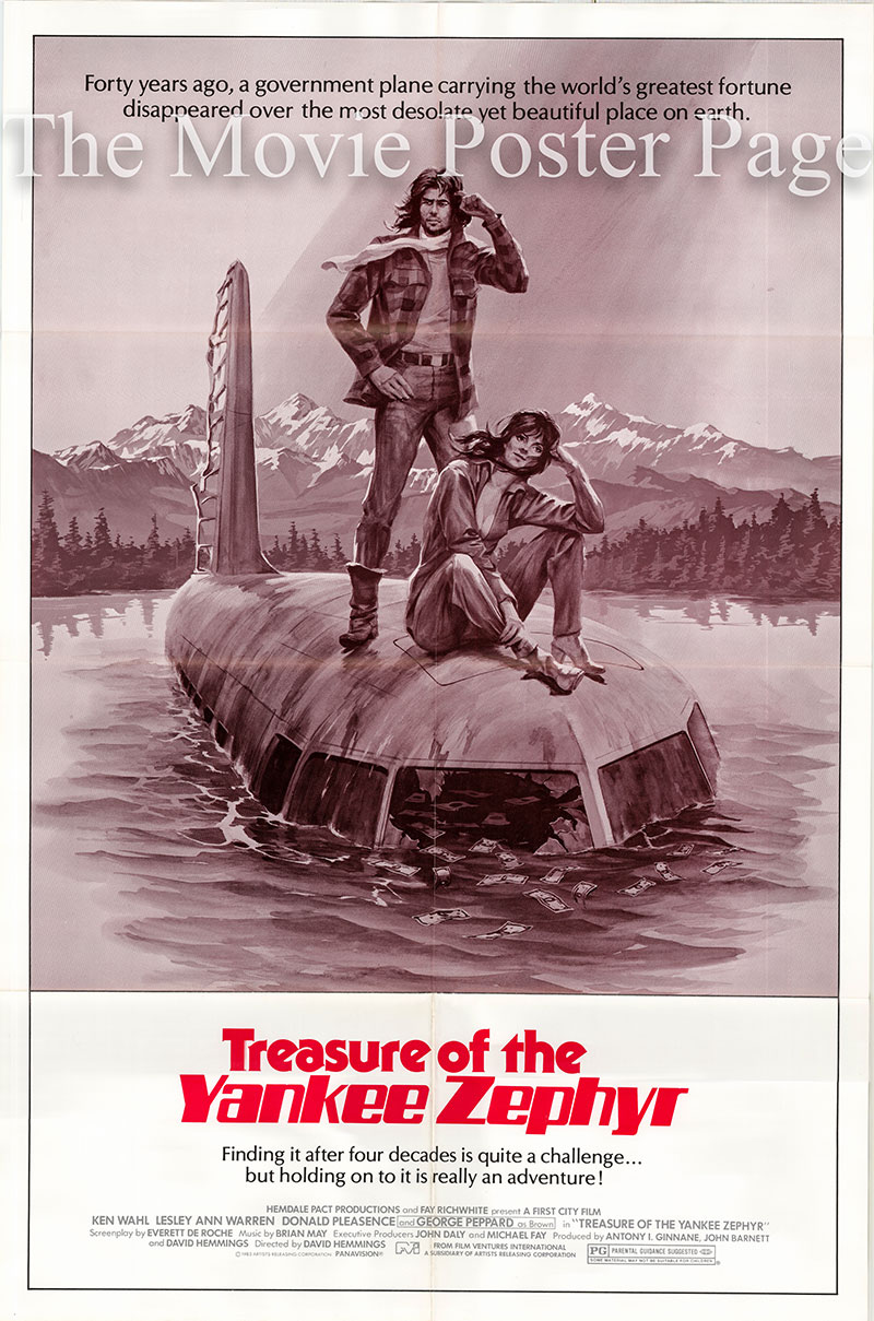 pictured is a US one-sheet poster for a 1983 of the 1981 David Hemmings film Treasure of the Yankee Zaphyr starring Ken Wahl as Barney.