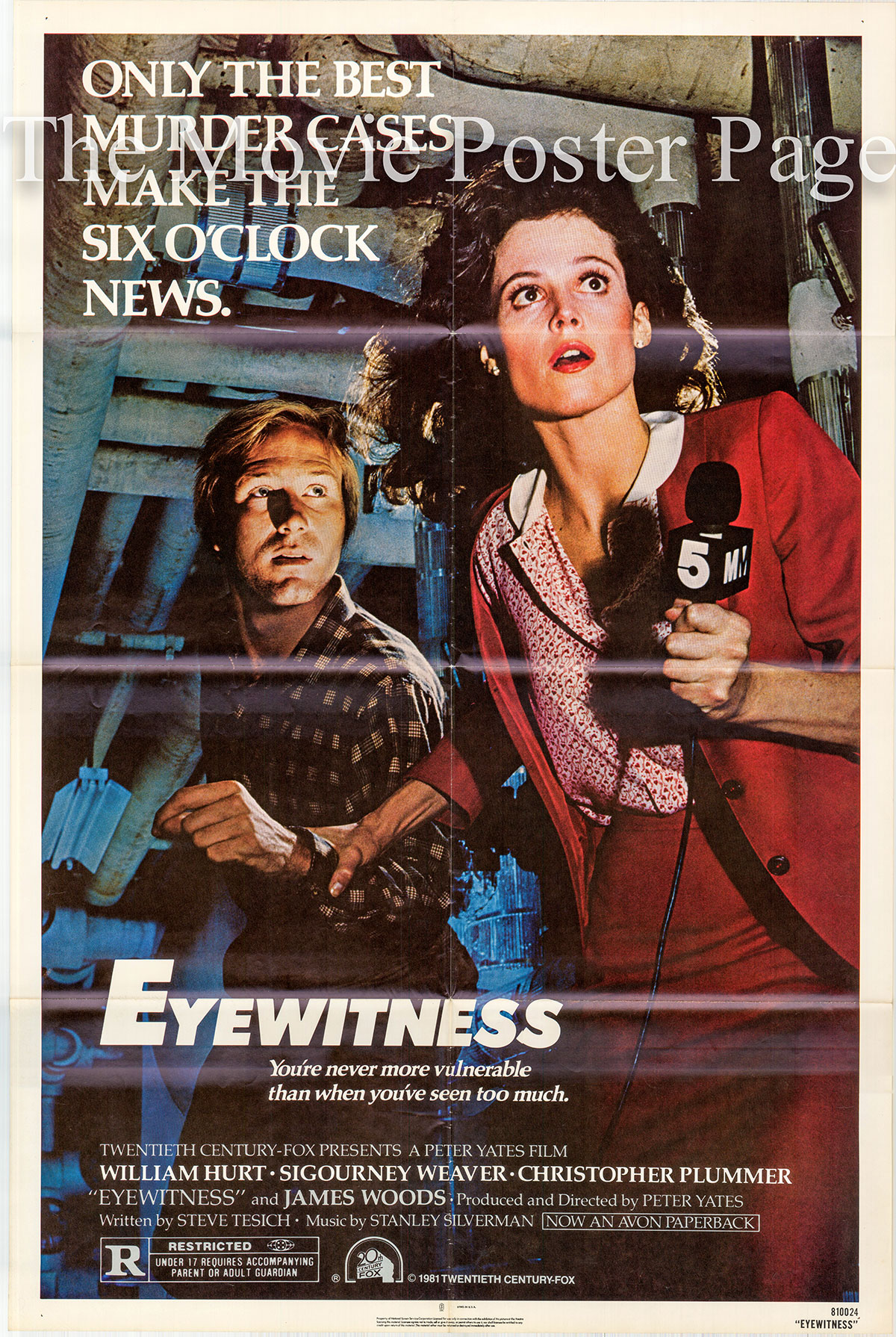 Pictured is a US promotional one-sheet poster for the 1981 Peter Yates film Eyewitness starring William Hurt as Daryll Deever.